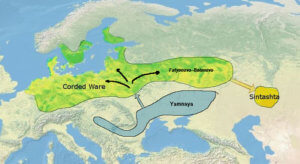 Map of the Corded Ware and Sintashta Culture in Eurasia.