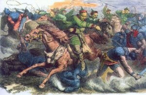 Engraving of the Huns and Alans fighting on horseback.