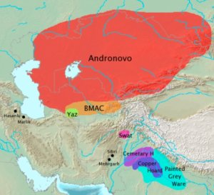 Map of the Andronovo culture's distribution in Kazakhstan.