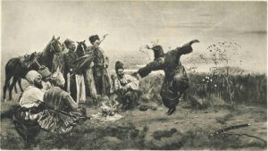 Black and white painting of Cossacks wildly dancing in a field.