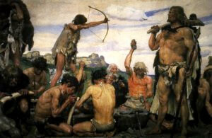 Oil painting showing Neolithic men making stone tools and firing arrows.